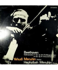 Beethoven-Yehudi Menuhin,Hephzibah Menuhin–Violinsonaten F-dur Op.24 (Frühlingssonate)/A-dur Op.47 (Kreutzersonate) (LP)